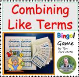Combining Like Terms FREE bingo! activity