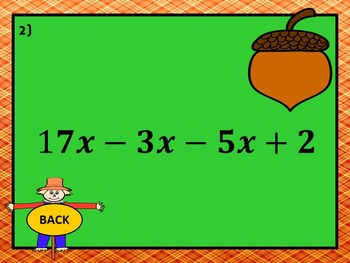 Combining Like Terms: Fall Mania PowerPoint Game