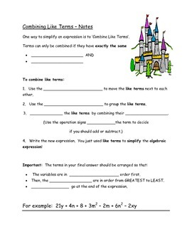 Combining Like Terms Fill In The Blank Notes Common Core