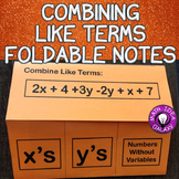 Combining Like Terms Foldable Notes for Interactive Notebook