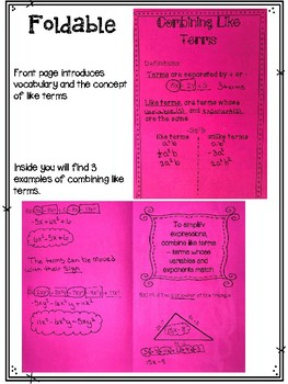 Combining Like Terms Foldable, Interactive Notebook, Practice, and Exit Ticket