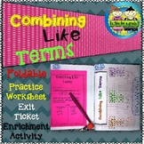 Combining Like Terms Foldable, Interactive Notebook, Pract