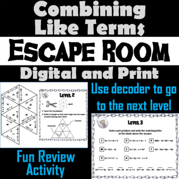 Distributive Property and Combining Like Terms Game: Algebra Escape Room Math