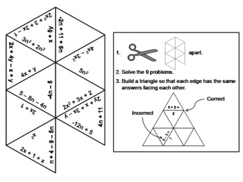Combining Like Terms Game: Math Tarsia Puzzle