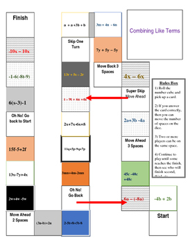 Combining Like Terms Gameboard