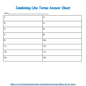 Combining Like Terms Google Slides Activity