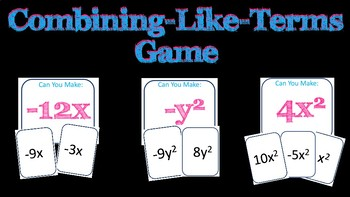Combining Like Terms Group Game ~ 7th Grade Math