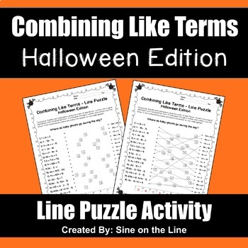Combining Like Terms Halloween Puzzle Activity