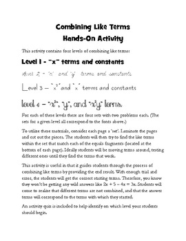 Combining Like Terms - Hands On Activity