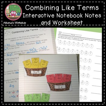 Combining Like Terms - IN Notes and Worksheet