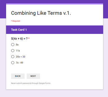 Combining Like Terms - Interactive Digital Task Cards - Google Forms