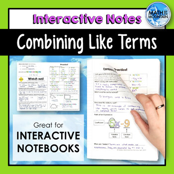 Combining Like Terms Interactive Notebook Notes