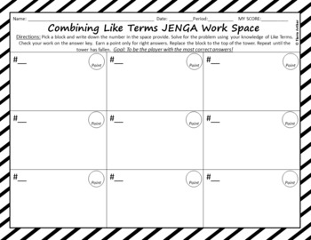 Combining Like Terms Game JENGA