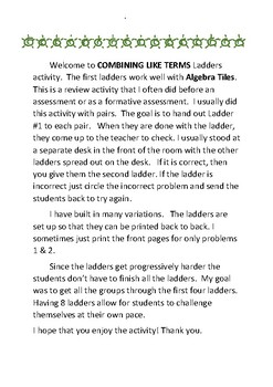 Combining Like Terms Ladder Review Activity