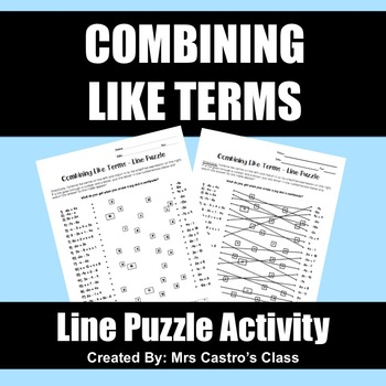 Combining Like Terms: Line Puzzle Activity