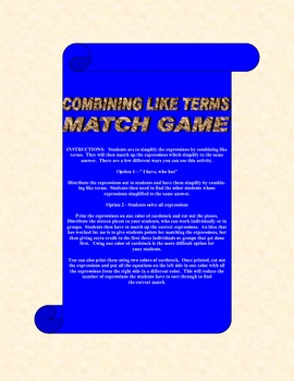 Combining Like Terms Match Game