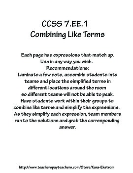 Combining Like Terms - Matching Activity