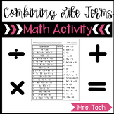 Combining Like Terms Matching Activity