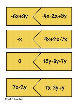 Combining Like Terms Matching Cards with Negatives
