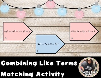 Combining Like Terms Matching Game