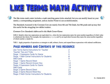 Combining Like Terms Math Center and Activity