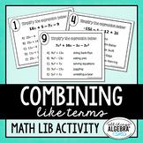 Combining Like Terms Math Lib