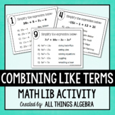 Combining Like Terms Math Lib - DISTANCE LEARNING