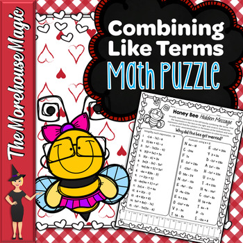 COMBINING LIKE TERMS COMMON CORE MATH PUZZLE - VALENTINE'S DAY