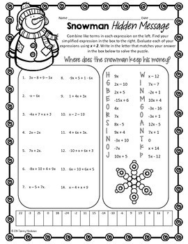 COMBINING LIKE TERMS COMMON CORE MATH PUZZLE, HOLIDAY MATH