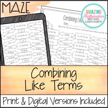 Combining Like Terms Maze Worksheet Beginner By Amazing Mathematics