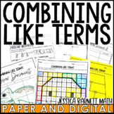 Combining Like Terms Resources - Lesson Bundle - Distance