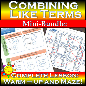 Combining Like Terms Mini-Bundle - Complete Lesson: 3D Maze and Warm-up