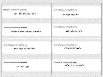 Combining Like Terms - Mini Task Cards