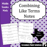 Combining Like Terms Notes