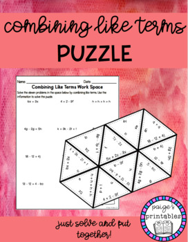 Combining Like Terms No Negatives NO PREP Puzzle - Print and Go