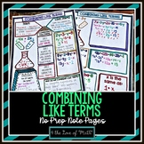 Combining Like Terms No Prep Note Pages