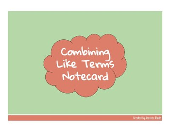 Combining Like Terms Notecard