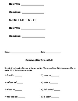 Combining Like Terms Notes and Assignments