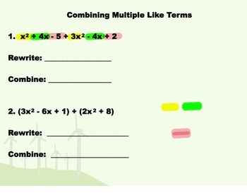 Combining Like Terms Notes and Assignments on Smartboard