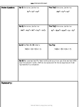 Combining Like Terms Notes and Practice