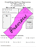 Combining Like Terms - Notes and Practice (INB)