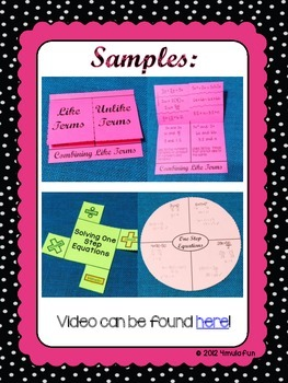 Combining Like Terms & One-Step Equations Anchor Charts & Flippables