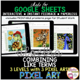 Digital Pixel Art Math Combining Like Terms Algebra 1 Distance Learning