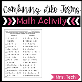 Combining Like Terms Partner Matching Activity
