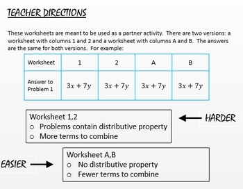 Combining Like Terms Differentiated Partner Worksheet Exponent of One