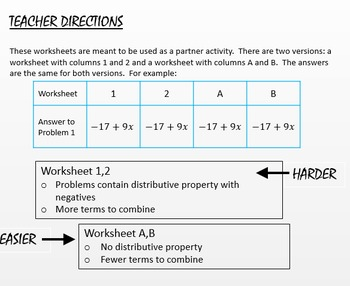 Combining Like Terms Differentiated Partner Worksheet