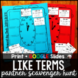 Combining Like Terms Partner Scavenger Hunt Activity - pri