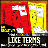Combining Like Terms Partner Scavenger Hunt Activity - no