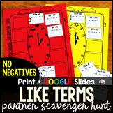 Combining Like Terms NO NEGATIVES Partner Scavenger Hunt -