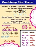 Combining Like Terms = Poster/Anchor Chart with Cards for Students Math Journals